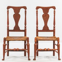 Pair of Red-painted Turned Side Chairs