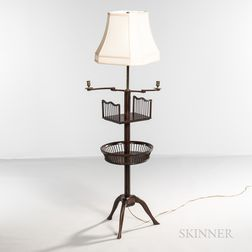 Mahogany Two-light Table/Floor Lamp