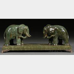 Spinach Green Jade Elephants
