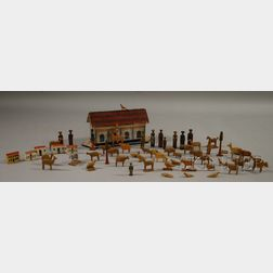 Childs Polychrome Painted Wooden Toy Noahs Ark with Wooden Animals and Figures.