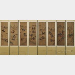 Eight-panel Screen with Manchurian Hunting Scenes