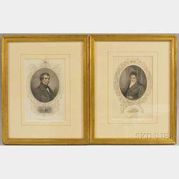 American School, 19th Century      Pair of Portrait Engravings: Robert Fulton After Benjamin West