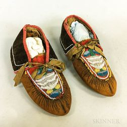Northeast Beaded Leather and Cloth Moccasins