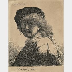 Rembrandt van Rijn (Dutch, 1606-1669)      Self Portrait in a Cap and Scarf with the Face Dark: Bust