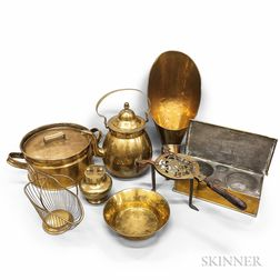 Twelve Early Brass Kitchen Items