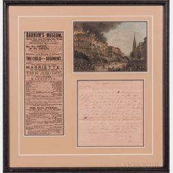 Barnum, Phineas T. (1810-1891) Autograph Letter Signed, 1855, and Other Material.