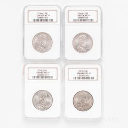Four 1918 Lincoln Commemorative Half Dollars, NGC MS65.     Estimate $400-600