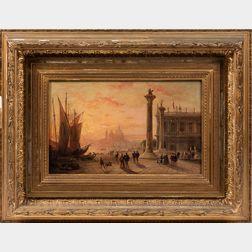 Edward L. Custer (American, 1837-1881)      Venetian Piazza at Sunset