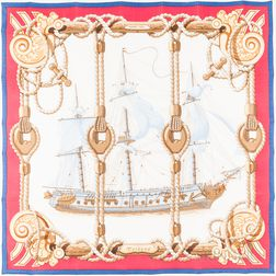"Framed Hermes ""Tribord"" Red Silk Scarf"
