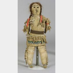 Plains Beaded Cloth and Hide Doll
