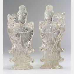 Pair of Rock Crystal Figures of Women