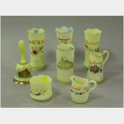 Eight Pieces of Victorian Dakotas and Kansas Souvenir Custard Glass.