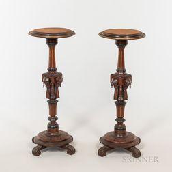 Pair of Eastlake-style Mahogany Pedestals
