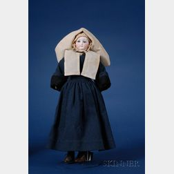 Early French Bisque Shoulder Head Fashion Doll in Religieuse Costume