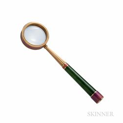 14kt Gold, Enamel, and Nephrite Jade Magnifying Glass