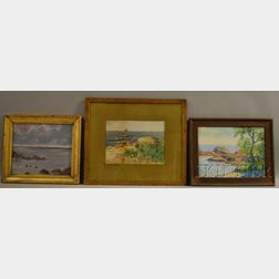 Lot of Three Coastal Scenes:      Mabel Bacon Plimpton English (American, 1861-1944), Ships at Sea
