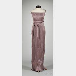Vintage Mary McFadden Mauve Fortuny-style Pleated Halter Dress