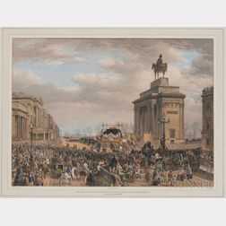 Louis Haghe (British, 1806-1885) and Thomas Picken (British, d. 1870), Funeral of the Duke of Wellington: The Funeral Car Passing the A