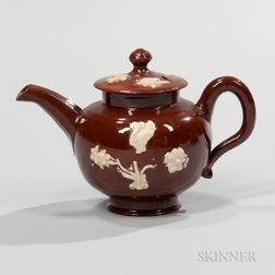 Staffordshire Glazed Miniature Redware Teapot and Cover