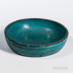 Turquoise-glazed Stoneware Brush Washer