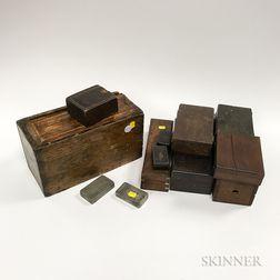 Twelve Various 19th/20th Century Boxes.     Estimate $100-200