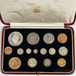 Cased 1937 George VI Fifteen-coin British Specimen Set.     Estimate $200-400