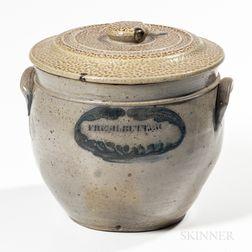 """Cobalt-decorated """"FRESH BUTTER"""" Stoneware Jar"""