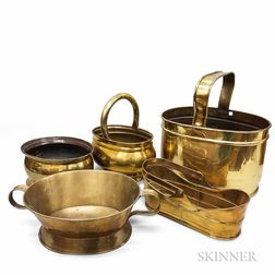 Five Early Brass Wine Coolers