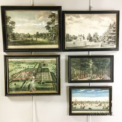 Five Framed 18th Century Engravings of Gardens and Landscapes.     Estimate $200-300