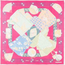 "Framed Hermes ""Kimonos et Inros"" Pink Silk Scarf"