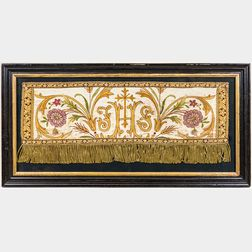 Framed Silk Brocade Ecclesiastical Textile Fragment