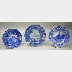 Two English Blue and White Transfer Landscape Decorated Staffordshire Plates and a   Deep Dish