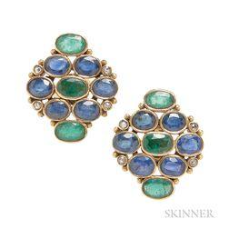 18kt Gold Gem-set Earrings