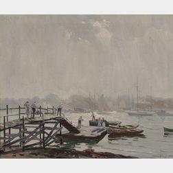 Charles Gordon Harris  (American, 1891-1963)      Clearing Fog/A Harbor Scene