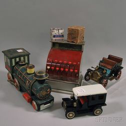 Five Tin and Pressed Metal Toys