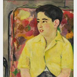 Eva Odlivak (American, 1919-2013)      Portrait of a Boy in a Yellow Shirt.