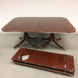 Duncan Phyfe-style Rosewood-inlaid Mahogany Two-pedaestal Dining Table