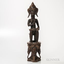 Baule-style Carved Wood Figure of a Seated Mother and Child