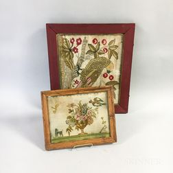 Two Framed Continental Needlepoint Pictures with Birds