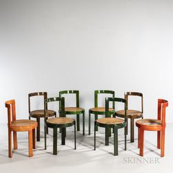 Eight Lacquered Bentwood Chairs