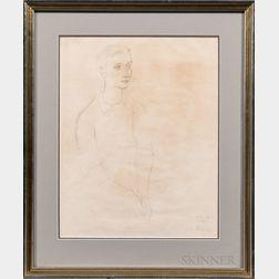 Bernard Robert Chaet (American, 1924- 2012)      Portrait of a Young Man, Probably Carl Crossman.