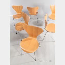 Six Arne Jacobsen (Danish, 1902-1971) for Fritz Hansen Series 7 Side Chairs