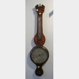 Mahogany Inlaid Banjo Barometer