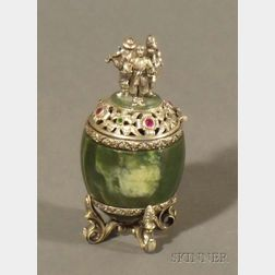Silver and Hardstone Egg-form Box
