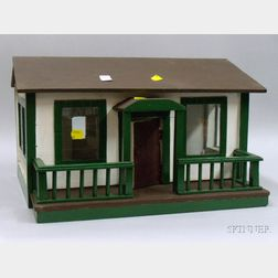 Handcrafted Painted Wood Cottage Dollhouse