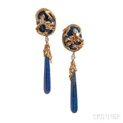 18kt Gold and Lapis Day/Night Earpendants, Erwin Pearl