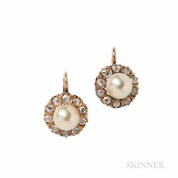 Gold, Pearl, and Diamond Earrings