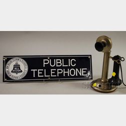 Bell System Enameled-metal Telephone Sign and Northern Electric Co. Nickel Silver Candlestick Telephone.