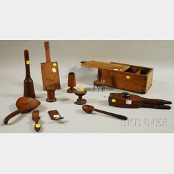Eleven Assorted Early Wooden Household Items and a Slide-lid Box