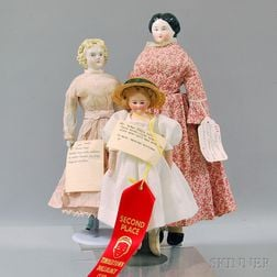 Three China and Bisque Lady-type Dolls